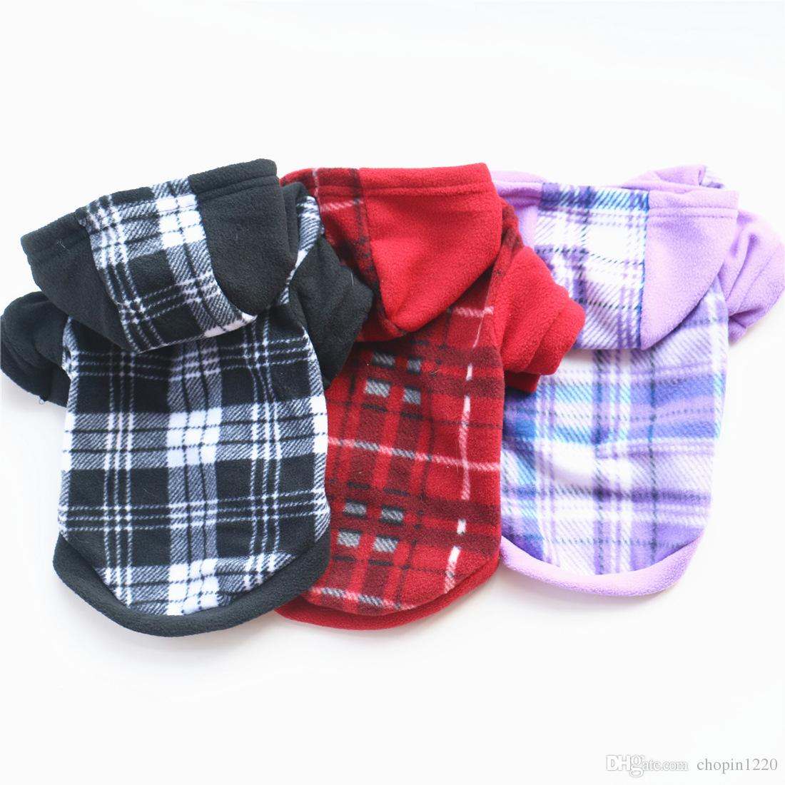 3 Colors Winter Spring Pet Clothes Product Supply Plaid Dog Coat for Small Dogs Chihuahua Fleece Attire Puppy Dogs Suit Pet Supplies XS-XL