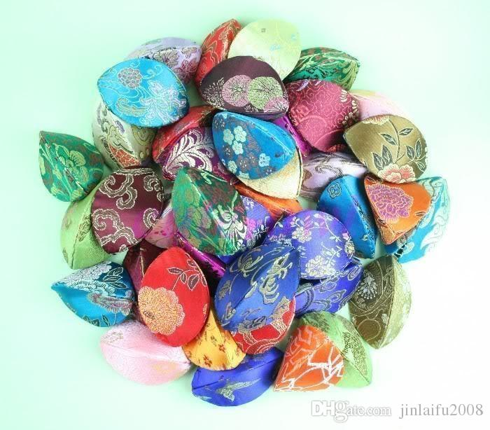 Nuovo 10pcs Silk Fortune Cookie Coin Borsellino Mix Color Case Squeeze Cinese Anello Borsa