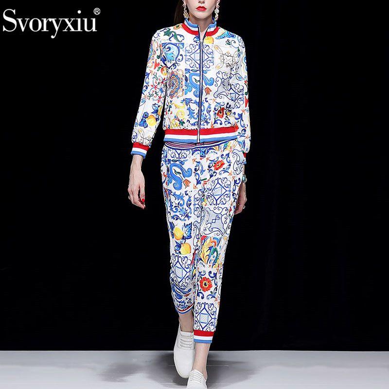 Svoryxiu 2018 Runway Otoño Invierno Moda Pantalones Conjunto de dos piezas Abrigo de manga larga + Pantalones casuales Conjunto de traje con estampado de cerámica pintada
