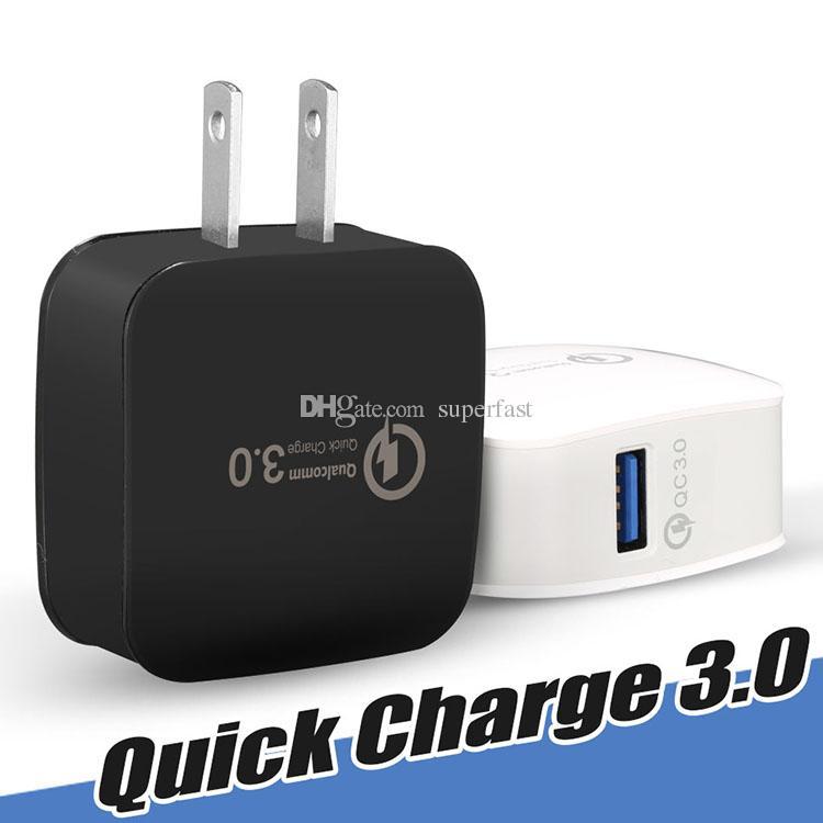 QC3.0 Duvar Şarj Güç Adaptörü Hızlı Şarj ABD, AB Tak Ev Seyahat Adaptörü iphone 7 8 X Samsung Huawei Yok Paket