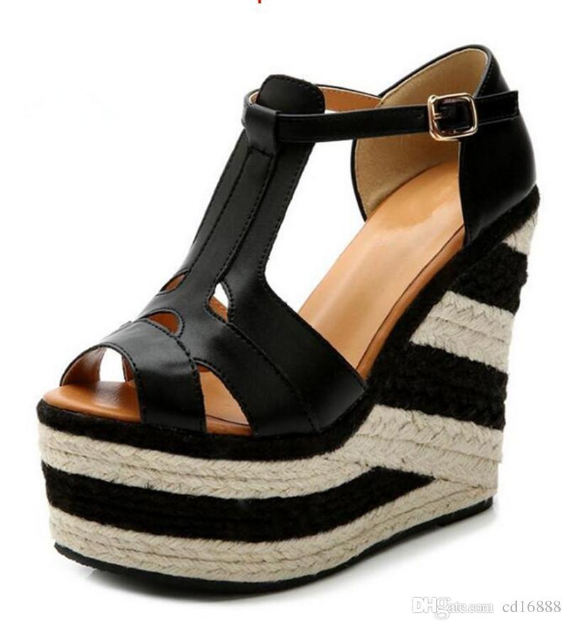 Más populares 2021 Nuevos Sandalias Sandalias Sandalias Zapatos National Wind Hit Color Flox Flax Wedge Sandalias Romanas Sandalias de tacón ultra-altas