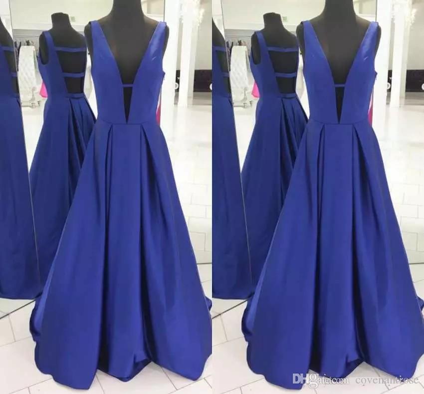 Simples Royle Azul Vestidos de Baile Sexy Profundo Decote Em V de Cetim Vestidos Formais Desgaste da Noite Custom Made Vestidos de Festa Para As Mulheres
