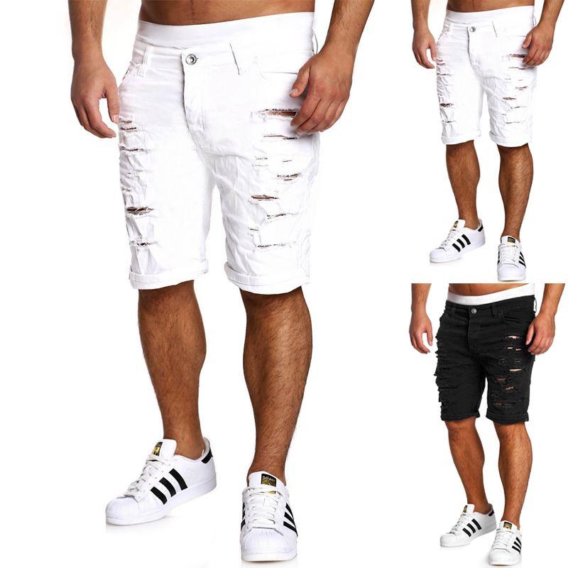 Fashion Mens Ripped Hole Denim Shorts Skinny Straight Casual Slim Fit Jean Short