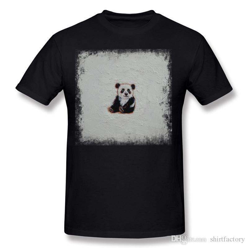 패션 남성 100 % 코 튼 TINY PANDA T 셔츠 남성 크루 넥 검정 짧은 소매 착용 S-6XL 사용자 지정 T 셔츠
