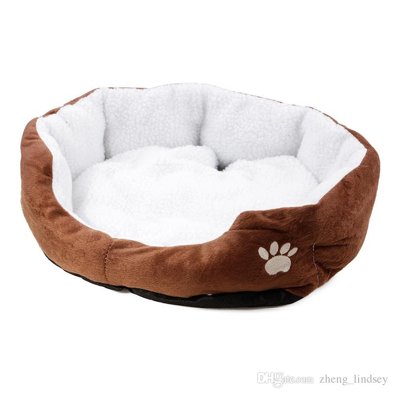 Warm Paw Print Pet Sofa Dog Beds Waterproof Soft Cashmere Dog House Fashion Kennel For Cat Puppy