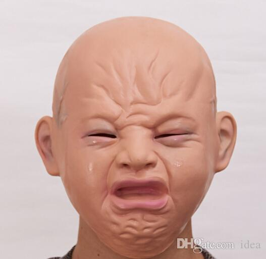 Heißer VERKAUF Realistische weinen baby voller kopf baby weinen gesichtsmaske praktischer witz kopfbedeckung Halloween party