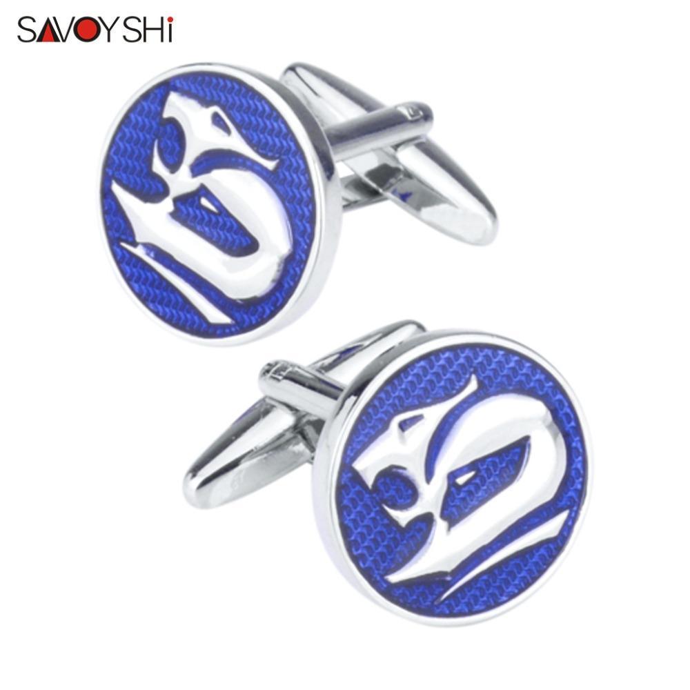 SAVOYSHI Novelty Fox Cufflinks for Mens Shirt Brand Cuff Nails High Quality Round Blue Enamel Cuff Links Wedding Gift Gemelos