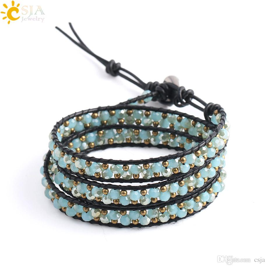 CSJA Leather Handmade Bracelet Charms 3 Strands Wrap Bracelets Faceted Glass Crystal Beads Boho Bohemian Jewelry Pulseras ePacket S139