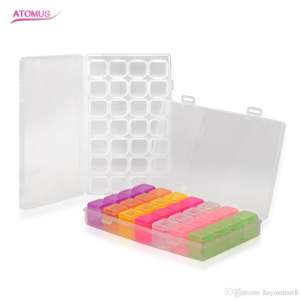 28 فتحات للتعديل شفافة تخزين مربع حلقة القرط حبات حبة البلاستيك المحمولة المنظم حالة السفر صناديق قطعتين مجموعة