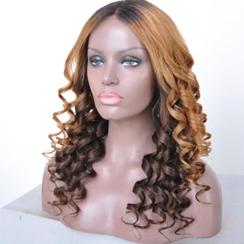 18 polegadas Mulheres Moda longo encaracolado Livre Parte completa sintética Brown Mix peruca loira peruca cosplay para o partido