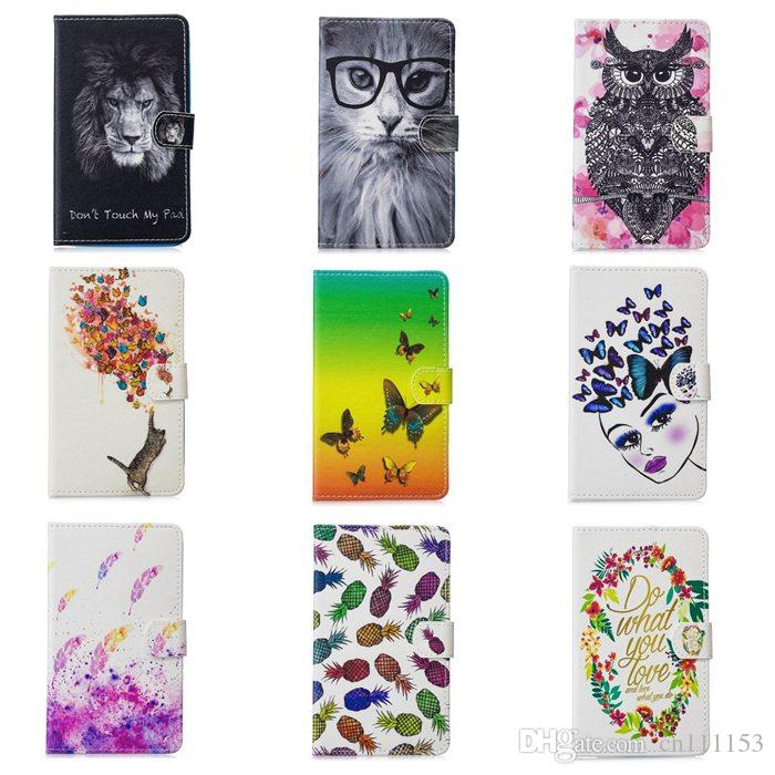 Painting PU Leaher Case For Samsung Galaxy Tab A T280 Flip Smart Cover Built-in Card Buckled Tablet Protective Case for Tablet PC