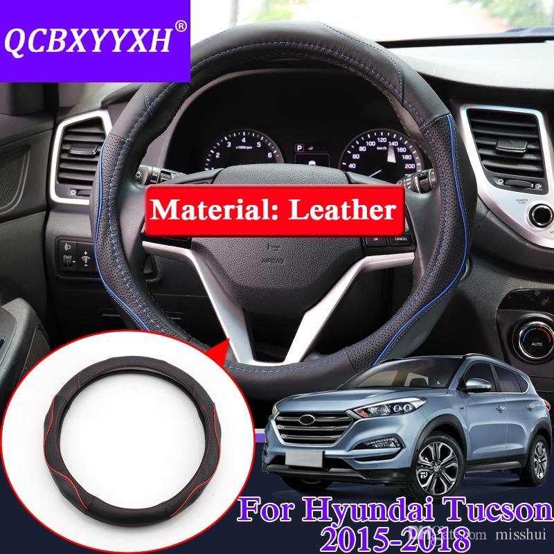Hyundai Elantra Tucson 2016-2018 용 스티어링 휠 커버를위한 QCBXYYXH 카 스타일링 가죽 스티어링 휠 커버 내부 액세서리