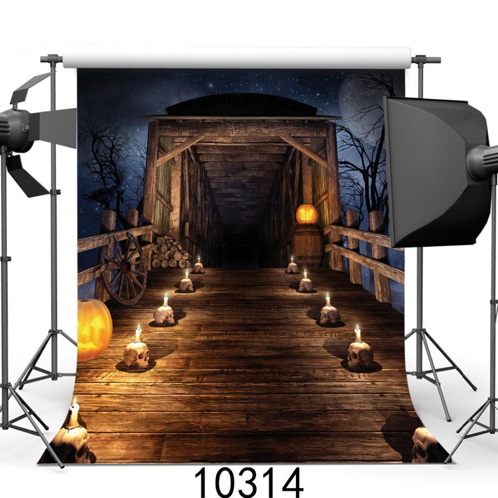 Хэллоуин фон деревянный мост черепа свечи фотографии фонов странные фоны для фотостудии для партии пользовательские 3D