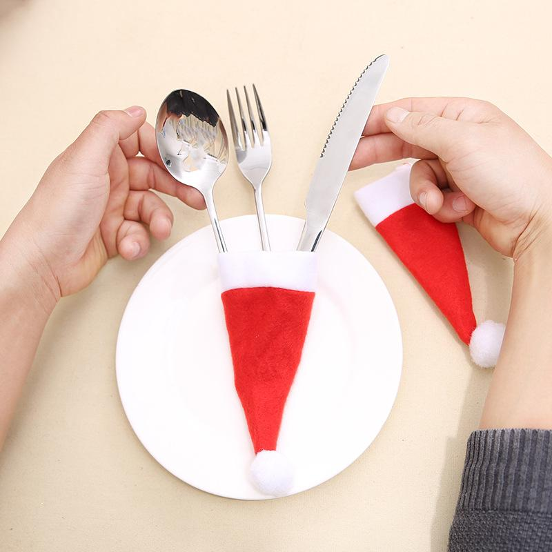Mini Christmas Hats Knives Forks Cover Red Dinnerware Bag Non-woven Fabric Wine Drinking Bottle Decorative Sleeve Christmas Decoration