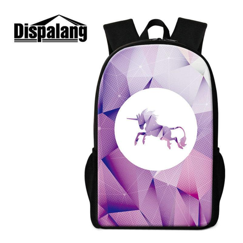 Unicorn Printing School Bags Bookbags For Teenage Girls Boys Diamond Pattern Backpack For Children Daily Daypacks Kids Big Bagpack Sac A Dos