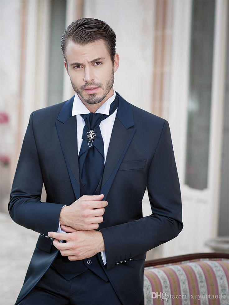 Black Men Suits Business Suits Blazer Custom Made Formal Tailored Tuxedo 3 Pieces Slim Fit Wedding Suits Terno Masculino (Jacket+Pants+Vest)