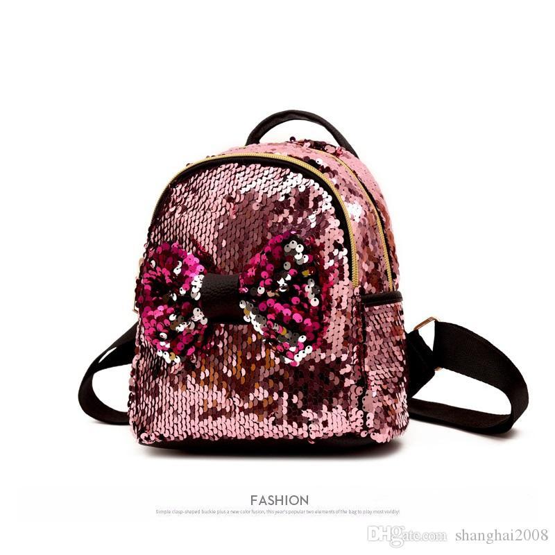 2018 Новый сверкающих Bling блестки милый большой бабочка открытый рюкзак для девочек-подростков mochila сумка мини путешествия милый мешок