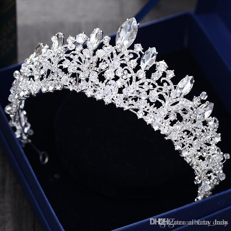 Muhteşem Prenses Büyük Düğün Taçlar Kadınlar Için Gelin Jewel Headpieces Tiaras Gümüş Metal Kristal Rhinestone Barok Saç Bantlar