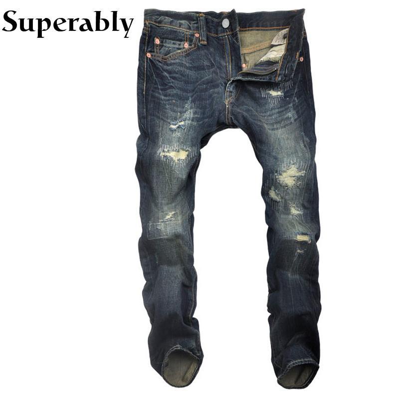 멋지게 브랜드 남자 청바지 유럽 아메리칸 스트리트 패션 파괴 찢어진 청바지 남자 스트레이트 피트 어두운 색상 캐주얼 바지