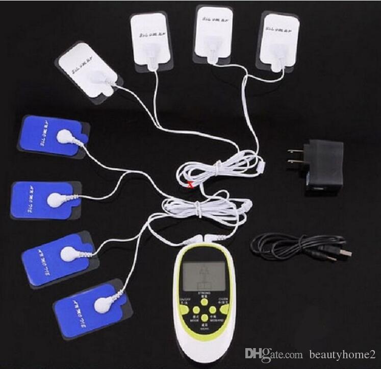 متعدد الوظائف المزدوج الناتج مدلك 8 منصات الكهربائي TENS EMS MAGAGER MACHINE / TENS UNITES / نبض الإلكترونية / مشجعا العضلات