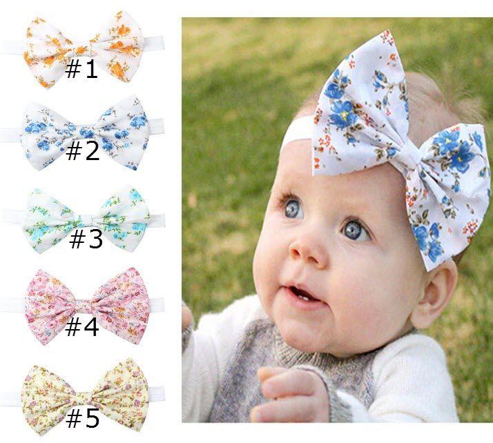 Cheap Hairbows Floral print Big Bow Sweet hair accessories Headband Hair For Holiday Beach 2018 Baby girl elastic Wholesale