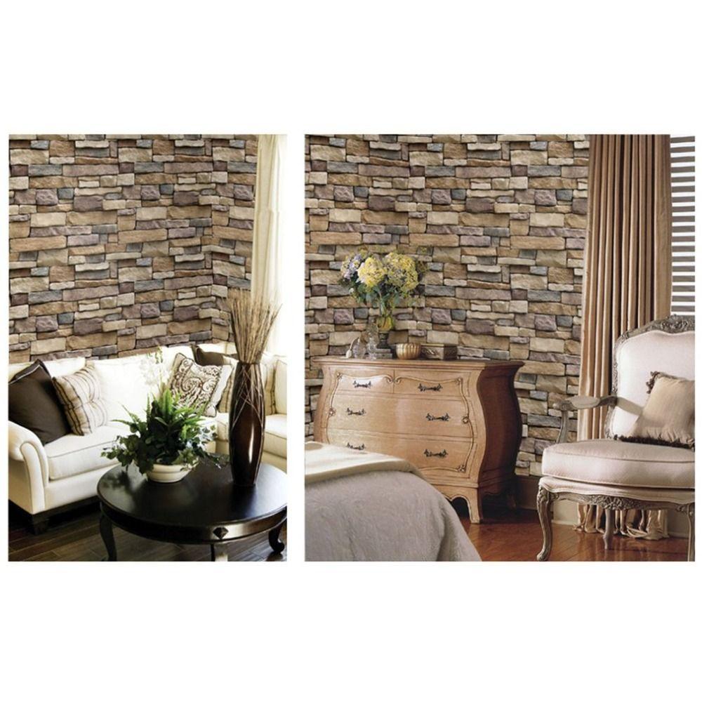 Ladrillo de piedra 3D Wallpaper PVC extraíble etiqueta de la pared Home Decor Art Wall Paper para dormitorio sala de estar de fondo calcomanía