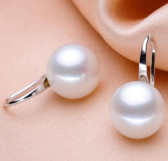 10-11mm Weiß Natürliche Südsee Perle Ohrringe 925 Silber Zubehör