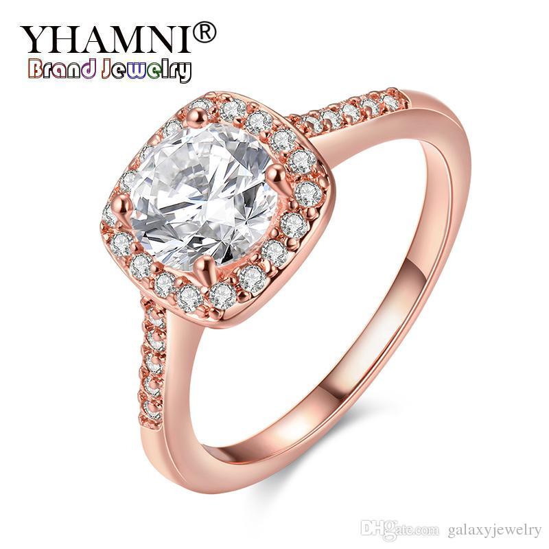 YHAMNI Moda Original Real Rose Anillos de Oro Para Las Mujeres 1ct 6mm Joyería de Calidad Superior Anillo de Oro Rosa AR035