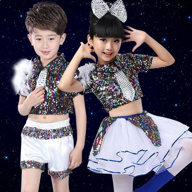 Trajes de baile de jazz latino para niños, hombres y mujeres, lentejuelas de jardín de infantes, ropa de baile, falda fleabane amarga
