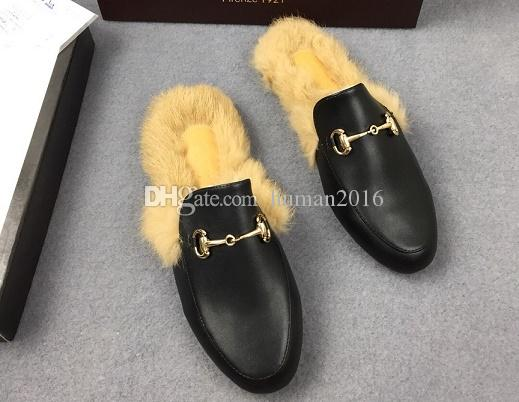 Дизайнер из натуральных кожи мокасины мехов Muller туфли с пряжкой Мода женщины Princetown Женской Повседневным Fur Мулы Квартира Новой бесплатной доставкой