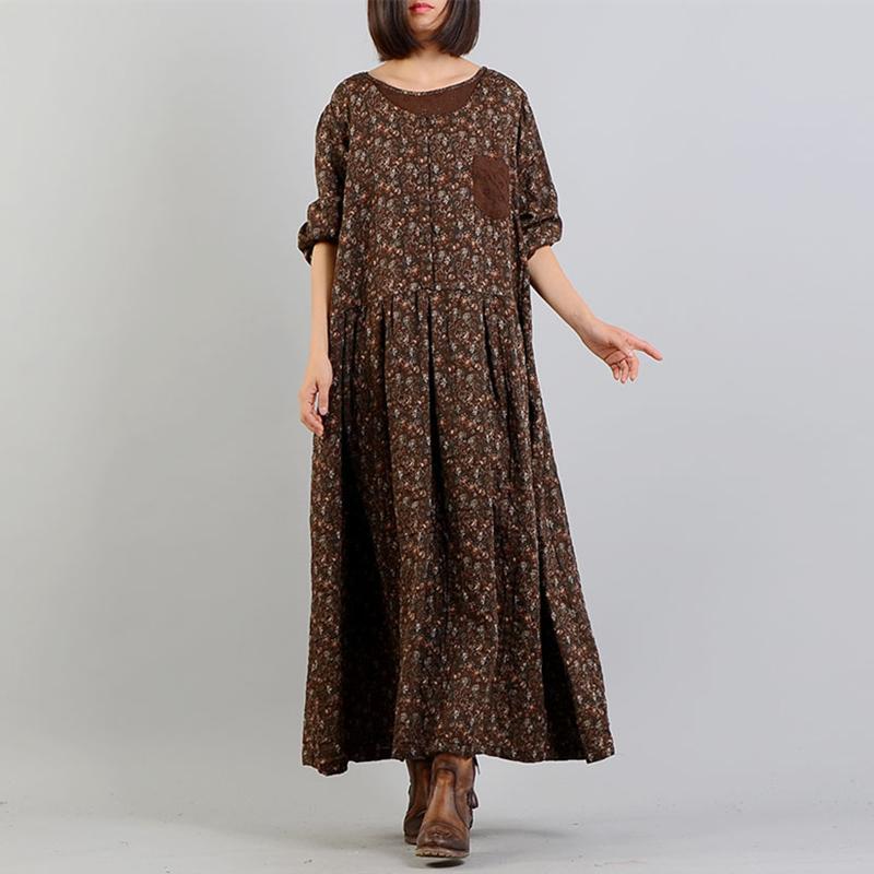 Johnature 2018 Bahar Yeni Pamuk Keten Kadınlar Baskı Elbiseler Gevşek Bel O-Boyun Patchwork Dokuz Puan Kol Uzun Elbiseler