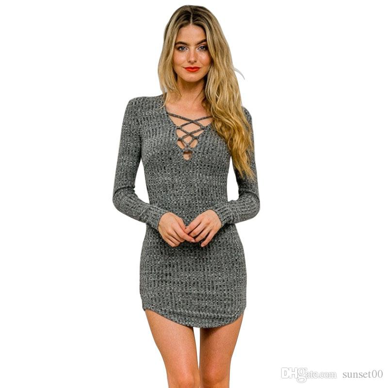 Women elegant tie cross V neck straps knit skirt sexy ladies slim fit pack hip dress female for autumn