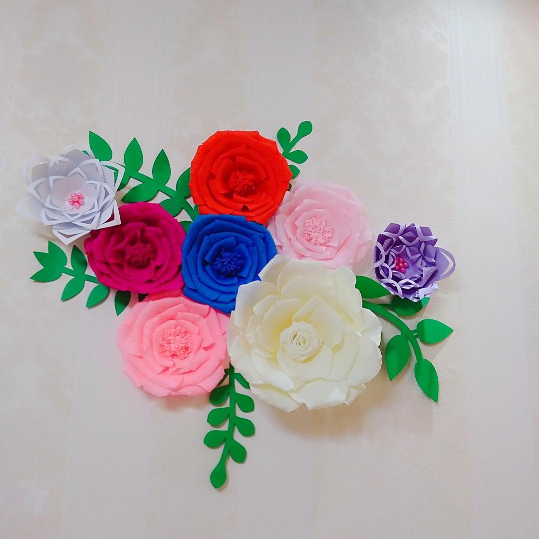 8 ADET Çeşitli Krep Kağıt Çiçek Seti 5 ADET Ile Yapraklar Galeri Duvar Kreş Dekor kızın Odası Dekor Çiçek Kreş Süslemeleri Ev Dekor