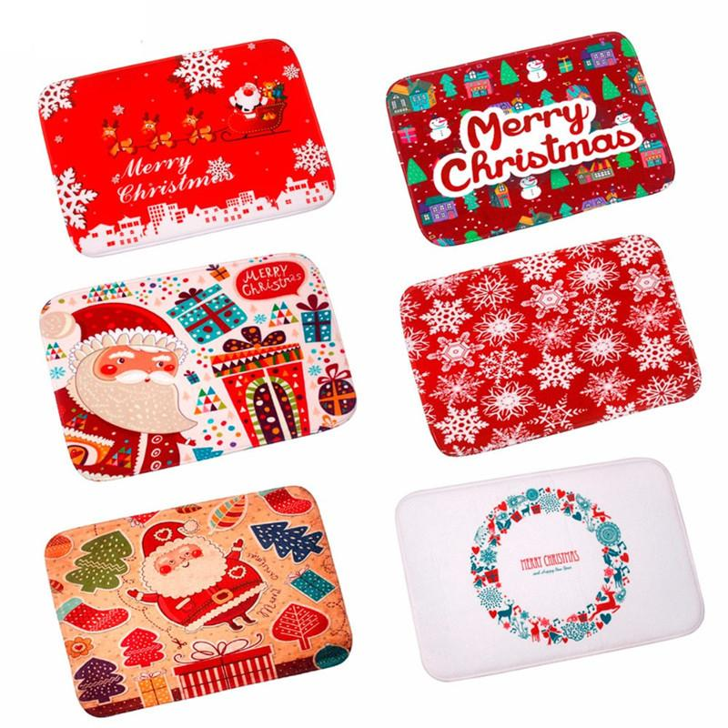 1Pc Merry Christmas Door Mat Santa Claus Flannel Outdoor Carpet Christmas Decorations For Home Xmas Party Favors Navidad 2018 Y18102609