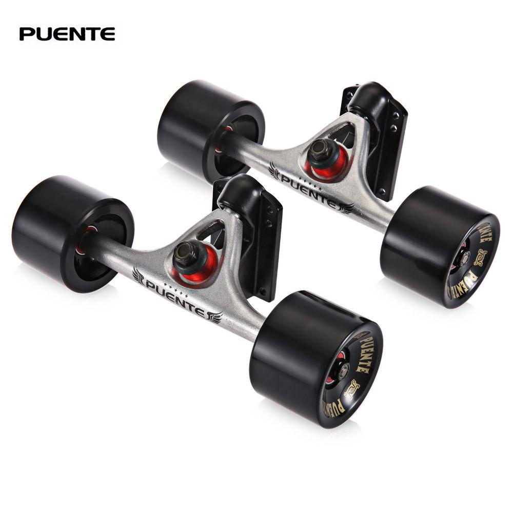 PUENTE 2 개 / 대 스케이트 보드 트럭 70 * 50 미리 메터 4 스케이트 보드 바퀴 라이저 패드 ABEC-9 베어링 설치 도구 롤러