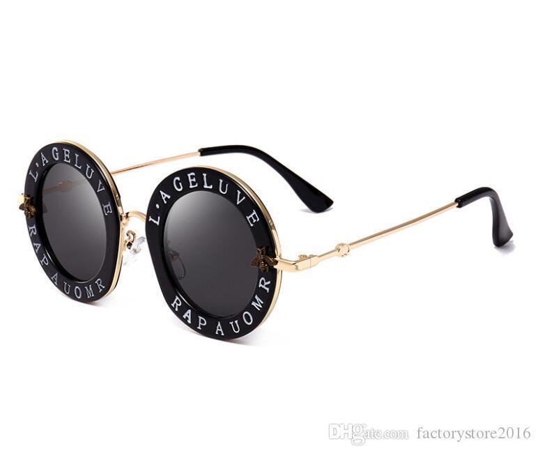 تتجه المنتجات النحل مصمم النساء الفاخرة النظارات الشمسية أزياء الوردي جولة إلكتروني نمط خمر إطار معدني النظارات الشمسية النساء
