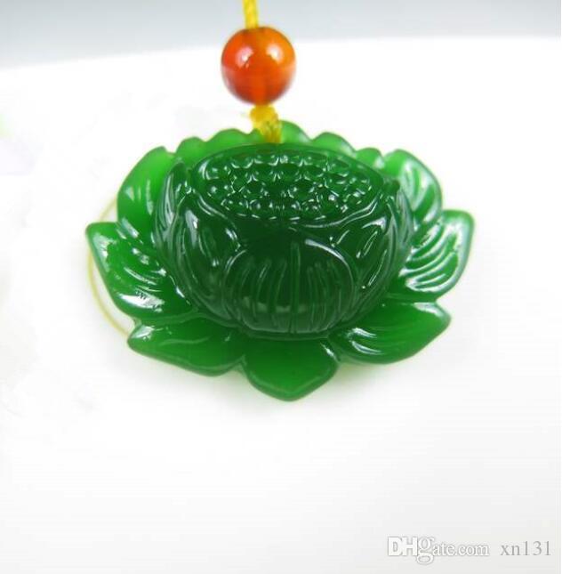 Natürliches Grün Hetian Jasper Schnee Lotus Anhänger Mode Blumen-Jade-Halskette für Frauen-Schmucksachen Freies Seil