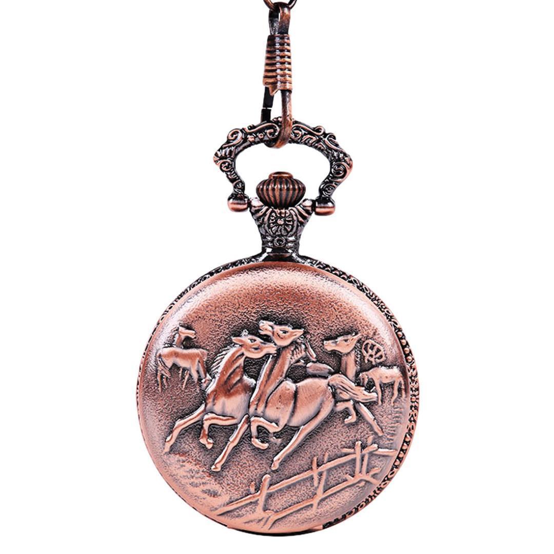 Antiguo caballo rojo galopando cara mate reloj de bolsillo nuevo estilo clásico reloj de bolsillo Casual hombres y mujeres pareja cadena