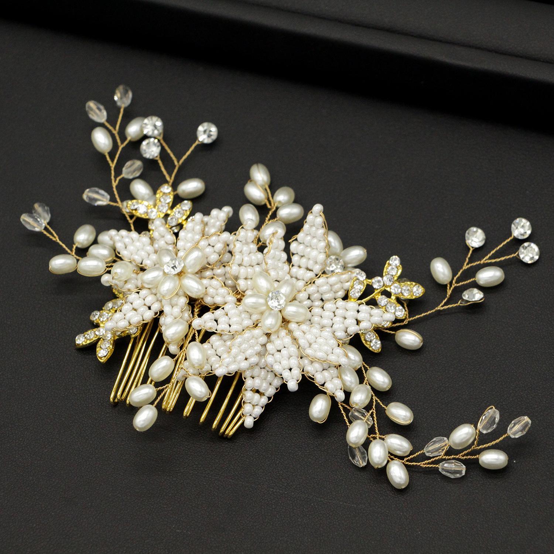 Perlen Braut Kopfschmuck Haar Kamm Hochzeit Kleid Dekoration Stil Zubehör Abendessen Brautjungfer Kopfschmuck
