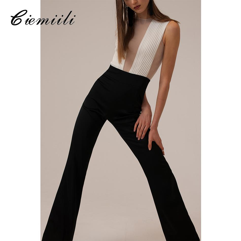 Sleevesless Bandage Women Jumpsuits 2018 Summer Sexy V Neck Patchwork Celebrity Evening Party New Skinny Rompers