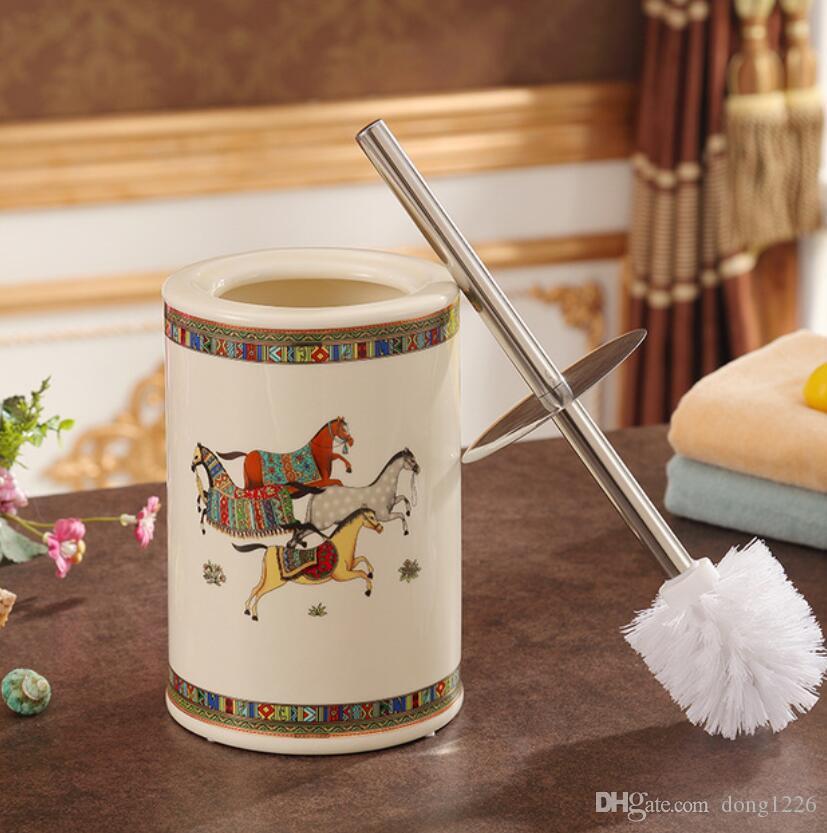 Лошадь керамическая Творческий Туалетная щетка аксессуары для ванной комнаты украшения для дома ремесленное украшение фарфоровые статуэтки украшения