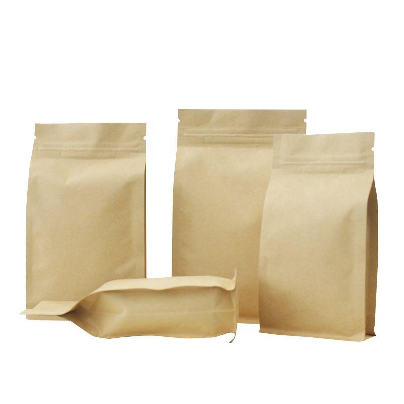 Kraft Paper Oito borda de vedação Bags, Zip fechamento Brown folha de alumínio Thicken embalagem de café, Nut, grão Pacote Bolsas 6 Tamanhos disponíveis