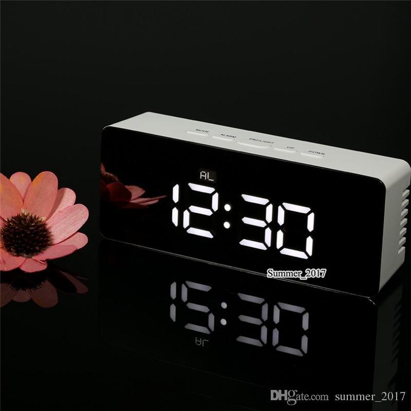 Carregamento USB Led Despertador Digital Noite Luz Temperatura Display Espelho Termômetro Relógios Digitais Touch Sensing Table Lamp