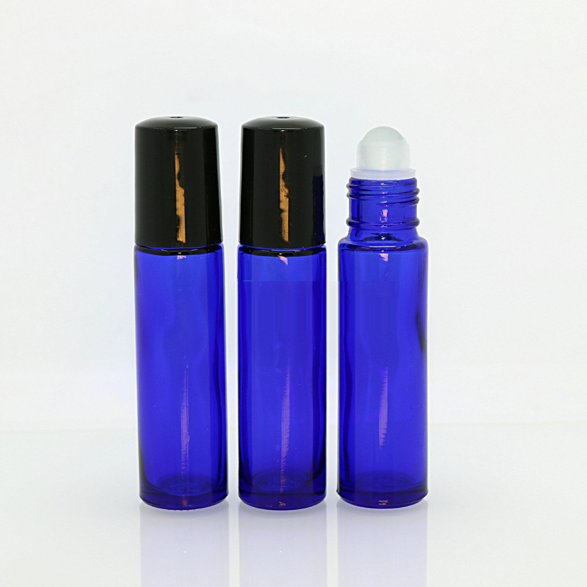 4 4ml Blue Glass Roll-on Bottle with Plastic Ball /& Caps