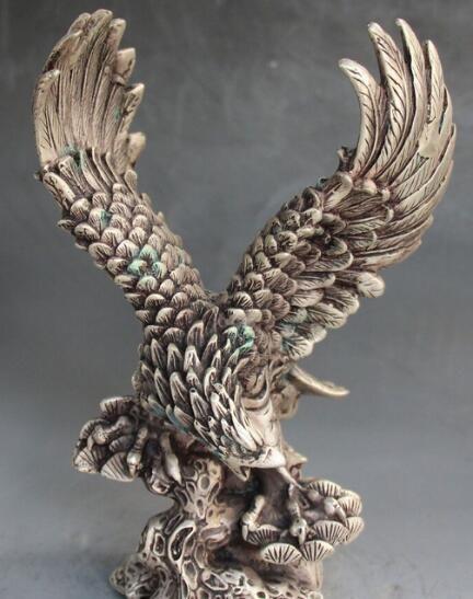 "9"" Marked Fengshui Silver Auspicious Animal Flight Hawk Eagle Birds King Statue"