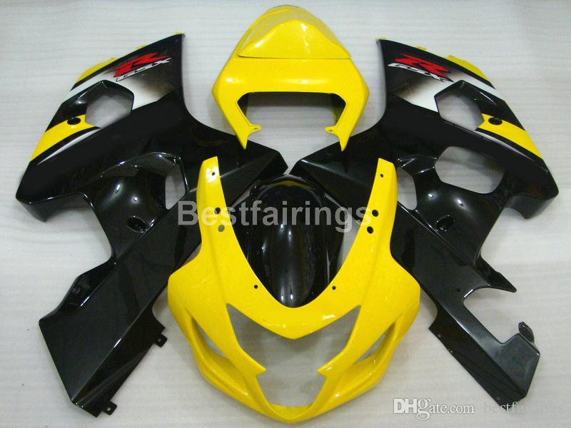 Venta caliente kit de carenado para SUZUKI GSXR600 GSXR750 2004 2005 amarillo negro GSXR 600 750 K4 K5 carenados RR50