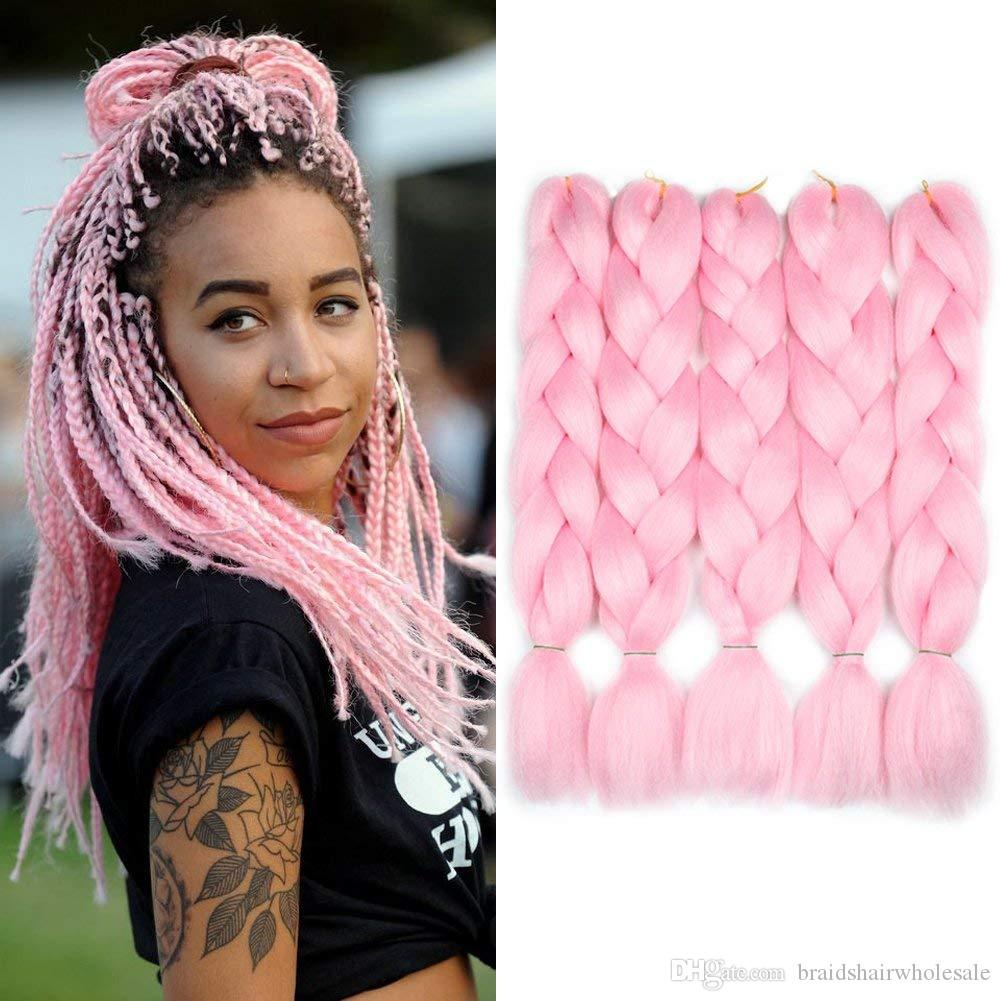 Pure Color Black Pink Purple Blue Red Blonde Color Synthetic 100% Kanekalon Jumbo Braids Hair Extension White Women Twist