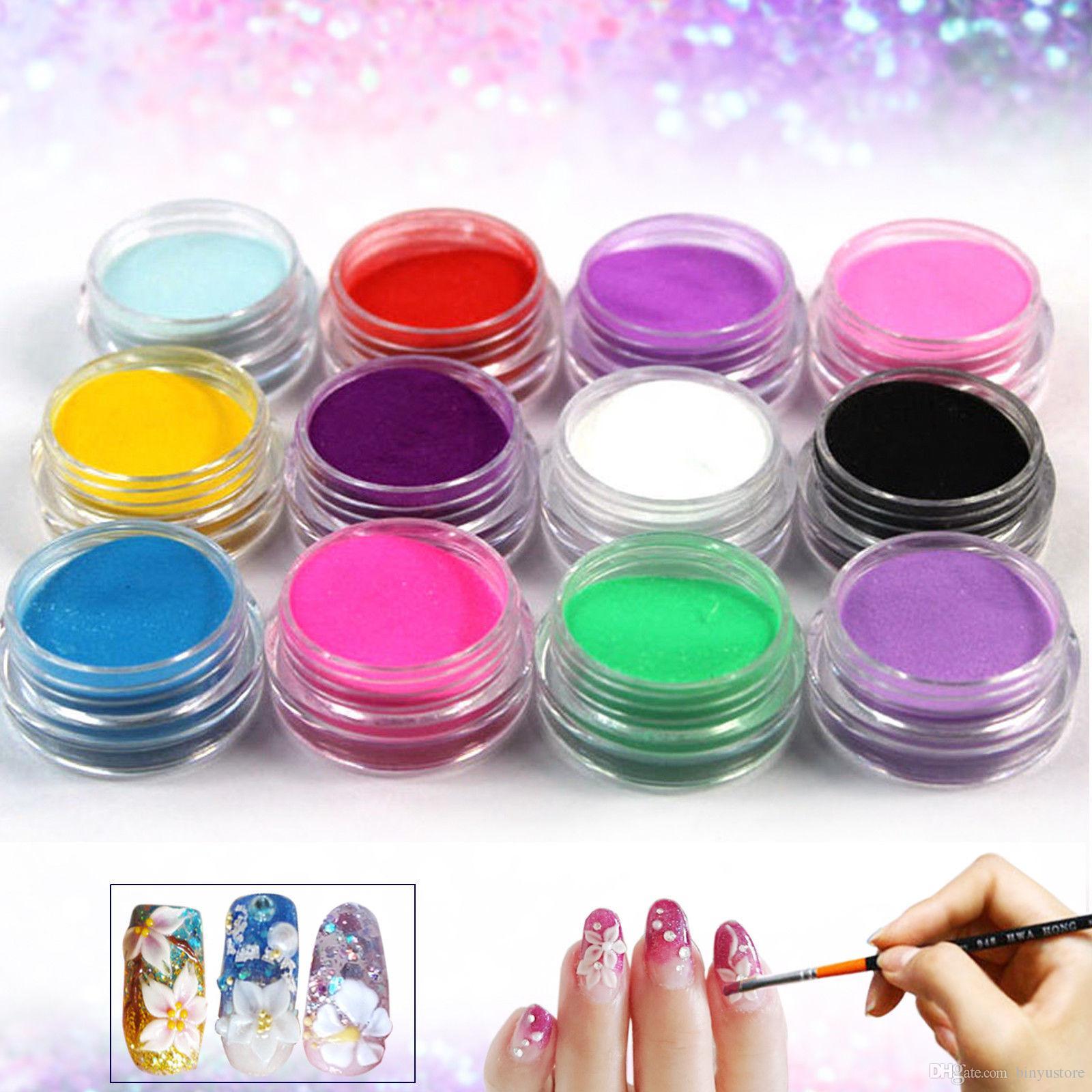 Venta caliente 12 UNIDS / Pot Mix Mix Colors Set Nail Art Polvo Acrílico En Polvo Decoración Para Uñas Consejos