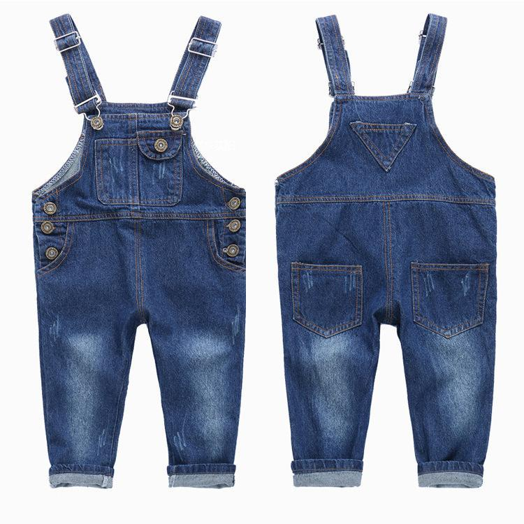 Fashion Kids Denim Jumpsuit 2 3 4 5 6 7 8 9 Years Children Overalls Jeans Spring Summer Autumn Boys Girls Jeans Pants