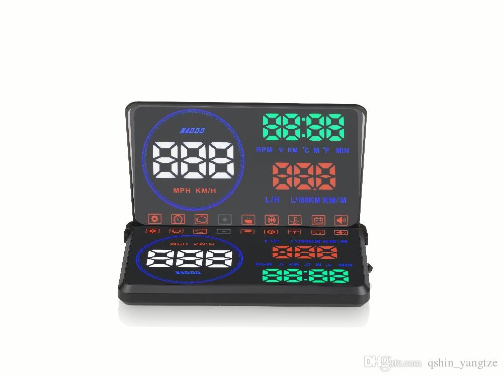 5.5 inch car OBD2 HUD vehicle head up display whidshield projector alarm system with overspeed engine fault fatigue water high temp warning
